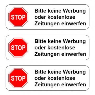 Briefkasten Aufkleber STOP, bitte keine Werbung ... TYP 1 | runde Ecken · weiß