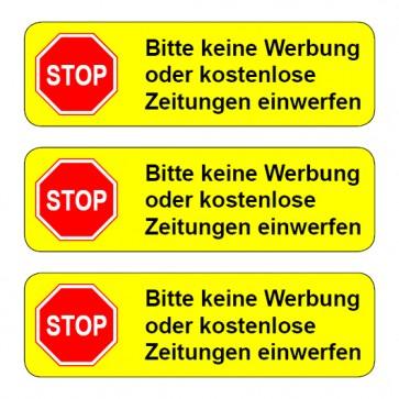 Aufkleber STOP, bitte keine Werbung ... TYP 2   runde Ecken · gelb