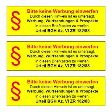 """Briefkasten Aufkleber """"§ Bitte keine Werbung einwerfen... """" TYP 110   eckig · gelb"""