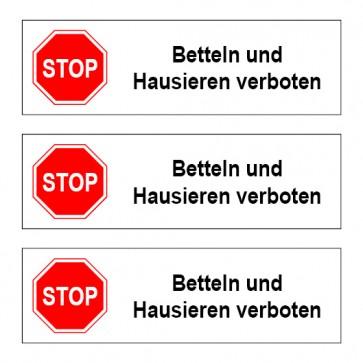 """Briefkastenaufkleber """"Betteln und Hausieren verboten"""" TYP 113   eckig · weiß"""