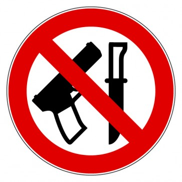 Aufkleber Verbotszeichen Waffen tragen verboten
