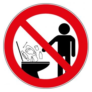 Verbotsschild Gegenstände in die Toilette werfen verboten