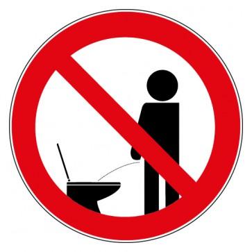 Verbotsschild Pinkeln im Stehen verboten