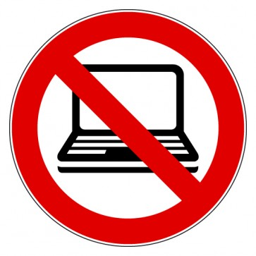 Aufkleber Verbotszeichen Laptop verboten