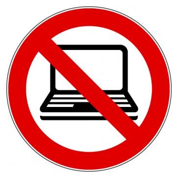 Verbotsschild Laptop verboten
