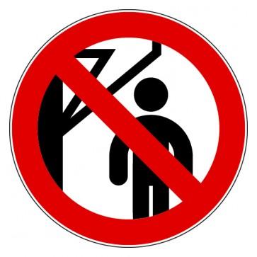 Aufkleber Verbotszeichen Nicht hinter den Schwenkarm treten