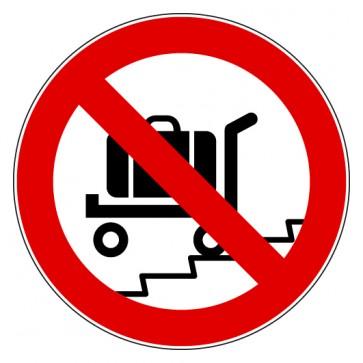 Aufkleber Verbotszeichen Rolltreppe mit Gepäckwagen verboten