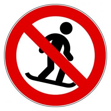 Aufkleber Verbotszeichen Snowboard fahren verboten