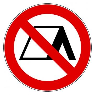 Aufkleber Verbotszeichen Zelten verboten