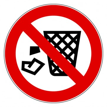 Verbotsschild Müll einfüllen verboten
