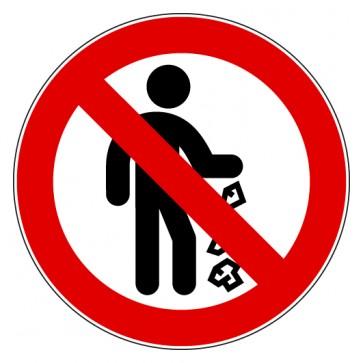 Aufkleber Verbotszeichen Müll hinterlassen verboten