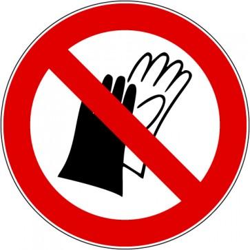 Aufkleber Verbotszeichen Benutzen von Handschuhen verboten