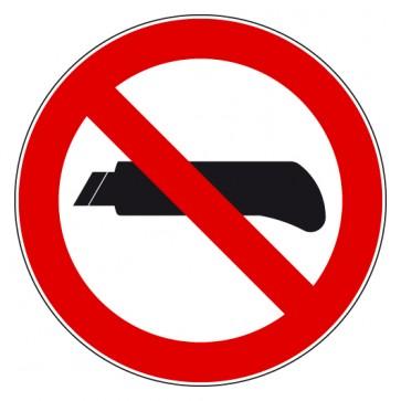 Aufkleber Verbotszeichen Cuttermesser verboten
