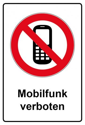 Aufkleber Verbotszeichen rechteckig mit Text Mobilfunk verboten