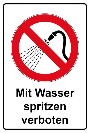 Aufkleber Verbotszeichen rechteckig mit Text Mit Wasser spritzen verboten