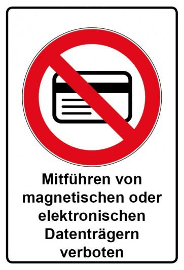 Kombi Aufkleber Mitführen von magnetischen oder elektronischen Datenträgern verboten