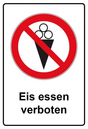 Aufkleber Verbotszeichen rechteckig mit Text Eis essen verboten