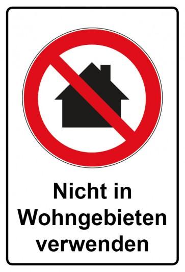 Aufkleber Verbotszeichen rechteckig mit Text Nicht in Wohngebieten verwenden