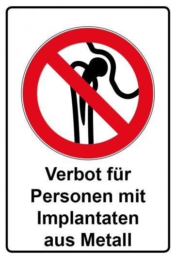 Kombi Aufkleber Verbot für Personen mit Implantaten aus Metall