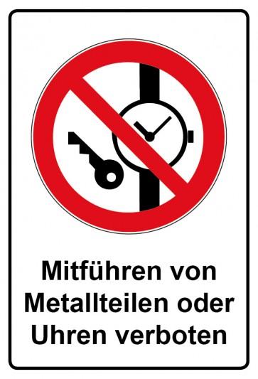 Kombi Aufkleber Mitführen von Metallteilen oder Uhren verboten