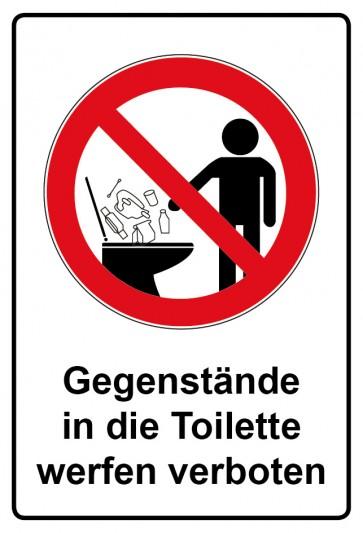 Kombi Aufkleber Gegenstände in die Toilette werfen verboten