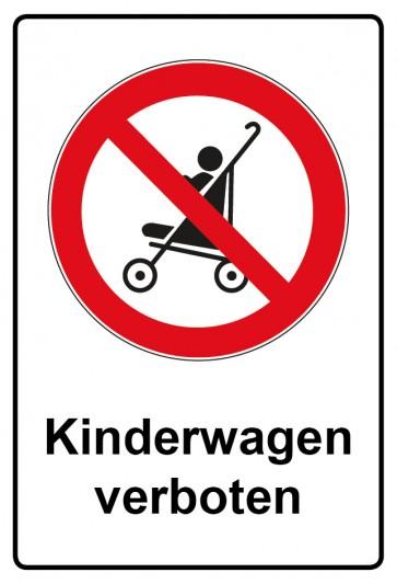 Aufkleber Verbotszeichen rechteckig mit Text Kinderwagen verboten