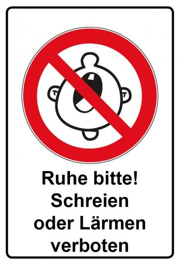 Kombi Aufkleber Ruhe bitte! Schreien oder Lärmen verboten
