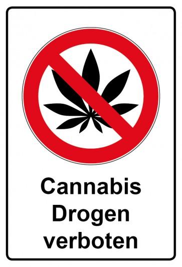 Aufkleber Verbotszeichen rechteckig mit Text Cannabis Drogen verboten