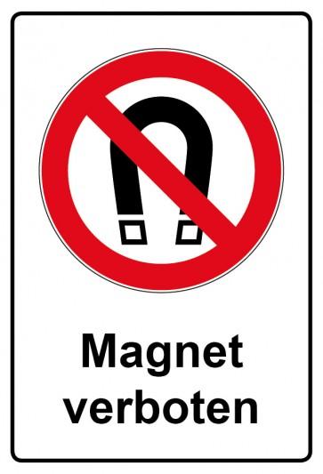 Aufkleber Verbotszeichen rechteckig mit Text Magnet verboten