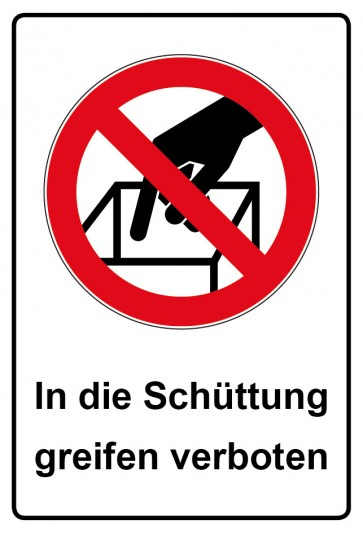 Kombi Aufkleber In die Schüttung greifen verboten