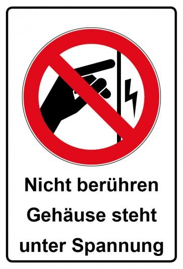 Aufkleber Verbotszeichen rechteckig mit Text Nicht berühren Gehäuse steht unter Spannung
