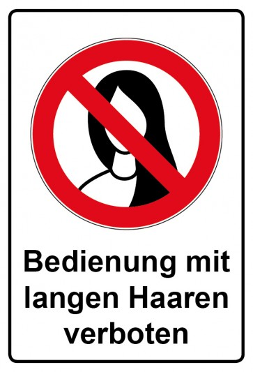 Kombi Aufkleber Bedienung mit langen Haaren verboten