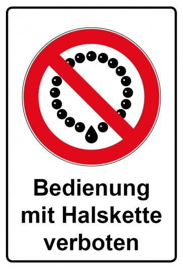 Kombi Aufkleber Bedienung mit Halskette verboten