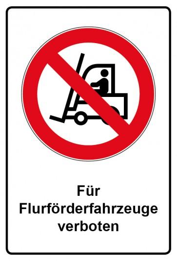 Aufkleber Verbotszeichen rechteckig mit Text Für Flurförderfahrzeuge verboten