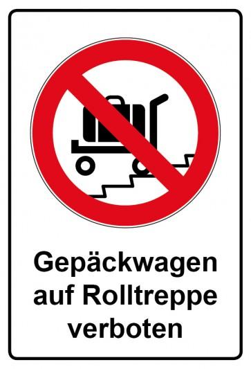 Kombi Aufkleber Gepäckwagen auf Rolltreppe verboten