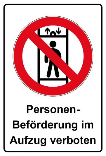 Aufkleber Verbotszeichen rechteckig mit Text Personenbeförderung im Aufzug verboten