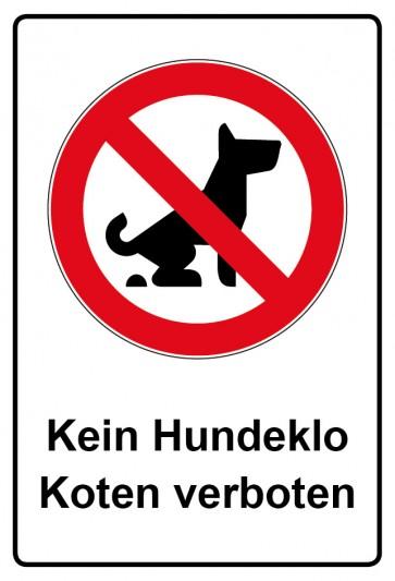 Kombi Aufkleber Kein Hundeklo Koten verboten