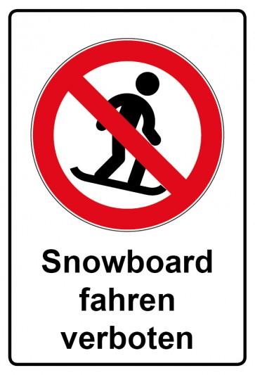 Aufkleber Verbotszeichen rechteckig mit Text Snowboard fahren verboten