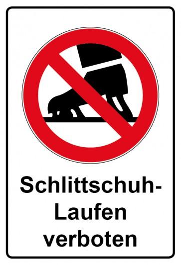 Aufkleber Verbotszeichen rechteckig mit Text Schlittschuhe laufen verboten