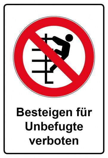 Aufkleber Verbotszeichen rechteckig mit Text Besteigen für Unbefugte verboten