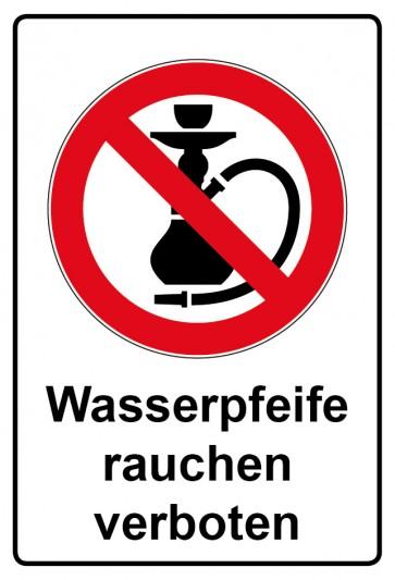 Aufkleber Verbotszeichen rechteckig mit Text Wasserpfeife rauchen verboten