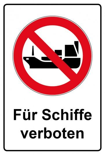 Aufkleber Verbotszeichen rechteckig mit Text Für Schiffe verboten