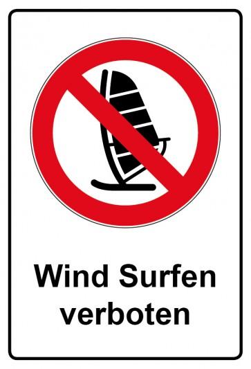 Aufkleber Verbotszeichen rechteckig mit Text Wind Surfen verboten