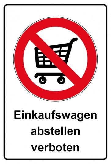 Aufkleber Verbotszeichen rechteckig mit Text Einkaufswagen abstellen verboten