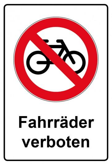 Aufkleber Verbotszeichen rechteckig mit Text Fahrräder verboten