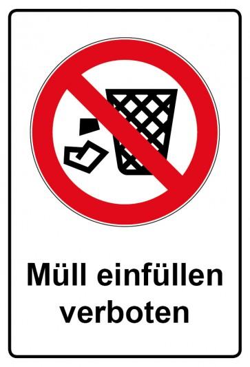 Aufkleber Verbotszeichen rechteckig mit Text Müll einfüllen verboten