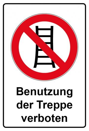 Aufkleber Verbotszeichen rechteckig mit Text Benutzung der Treppe verboten
