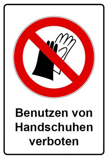 Aufkleber Verbotszeichen rechteckig mit Text Benutzen von Handschuhen verboten