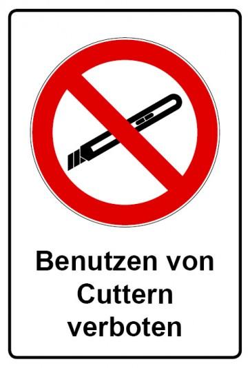 Aufkleber Verbotszeichen rechteckig mit Text Benutzen von Cuttern verboten