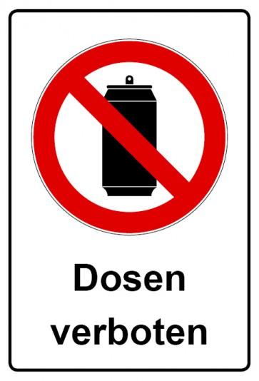 Aufkleber Verbotszeichen rechteckig mit Text Dosen verboten